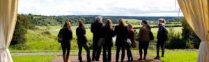 Customers looking out over Newgrange at opening of Newgrange Gold