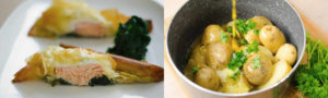 Salmon fillet with kale and new potatoes in saucepan