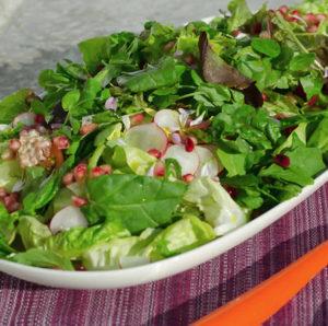 green salad with Newgrange Oil for dressing