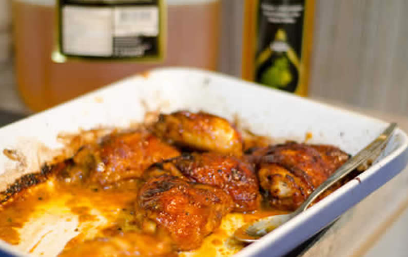 Honey and Mustard Sticky Chicken with Noodles