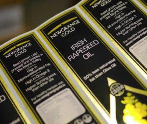 Newgrange Gold label on bottle of camelina oil