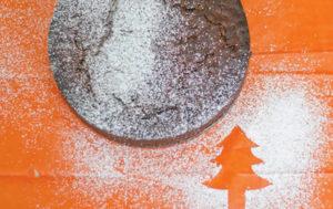 Christmas Cake with icing sugar sprinkled on