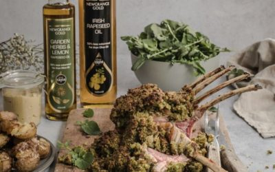 Garden Herb Crusted Rack of Lamb with Smashed Roasted New Potatoes and a watercress salad