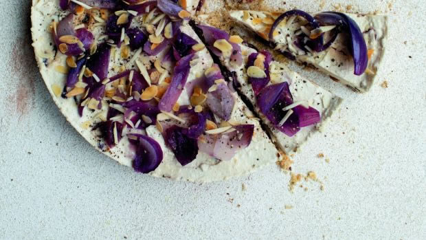 A vegan Christmas: Cornucopia's caramelised onion, cranberry and oat cheesecake