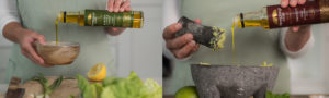 Lady pouring Newgrange Gold Rapeseed Oil into bowls